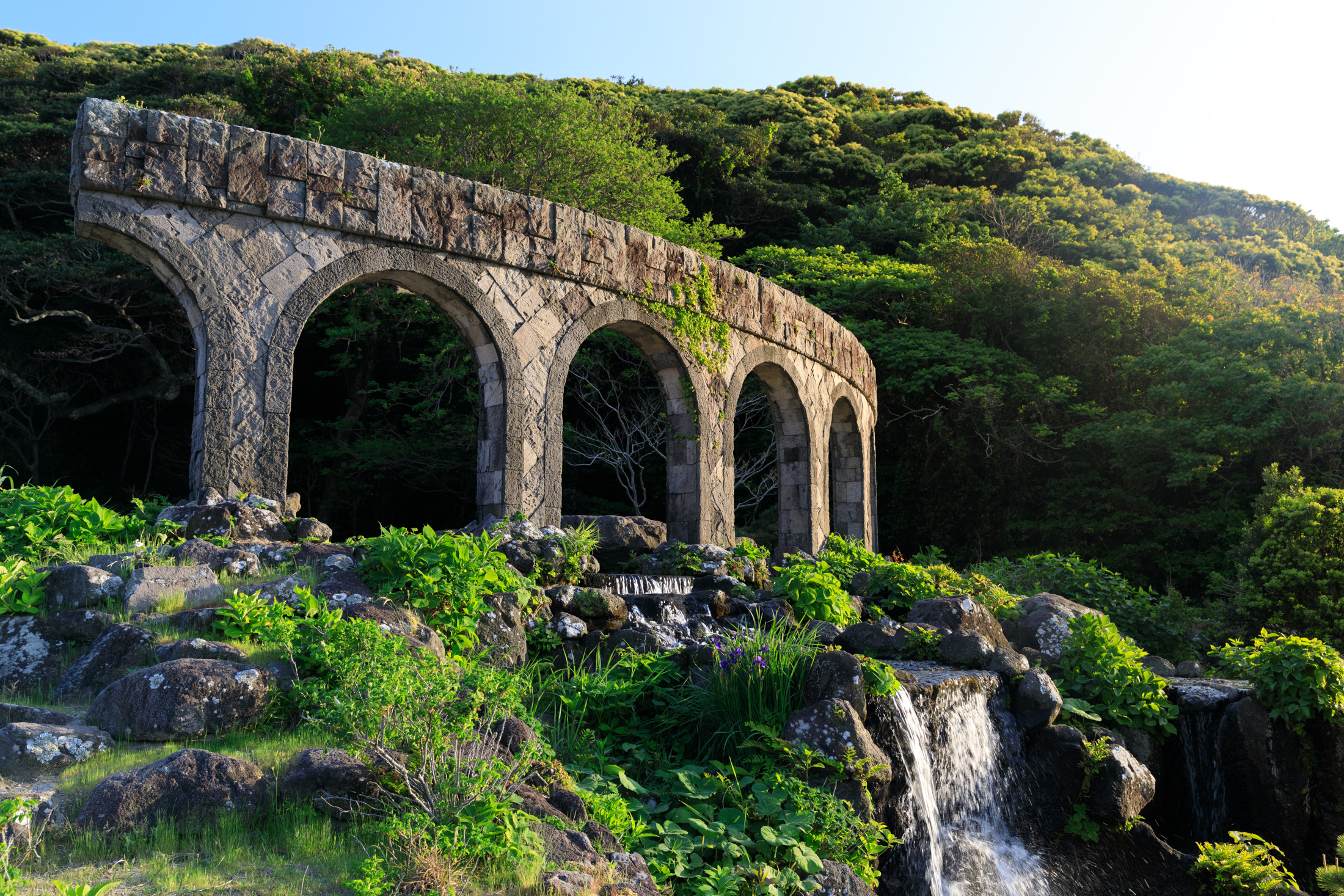 architecture, bridge, natural, nature, niijima, special, waterfall