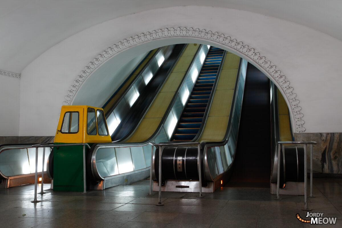Escalators in Pyongyang Subway
