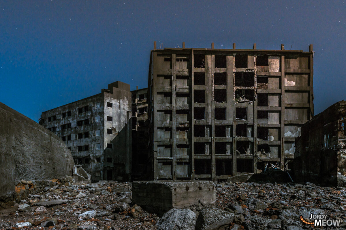 Gunkanjima Block 30 at Night